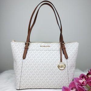 🌺NWT Michael Kors LG EW Ciara Tote Bag Vanilla MK